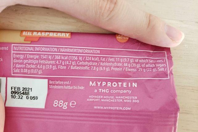 オーツ&ホエイプロテインバーの栄養成分