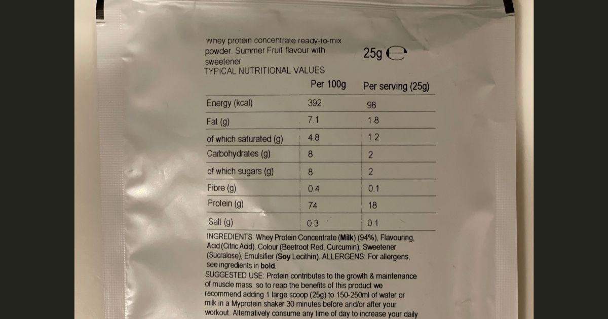 マイプロテインのサマーフルーツ味の栄養成分