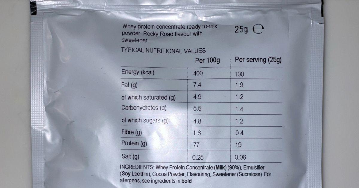 ロッキーロード味のレビューで栄養成分を示した画像