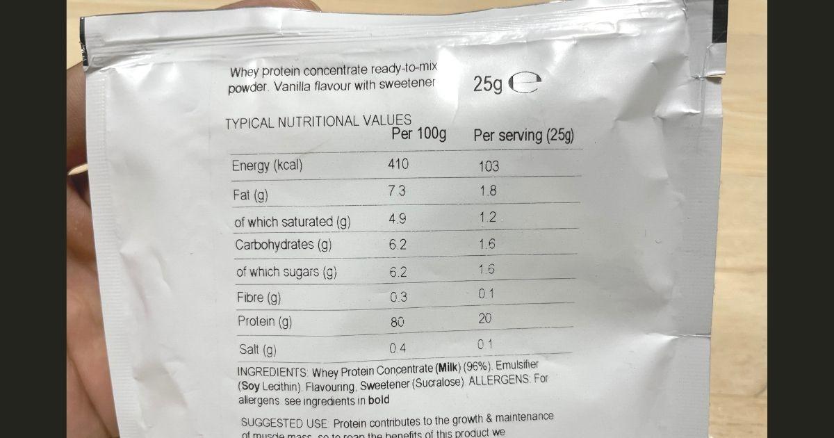 マイプロテインのピーチティー味の栄養成分がわかる画像