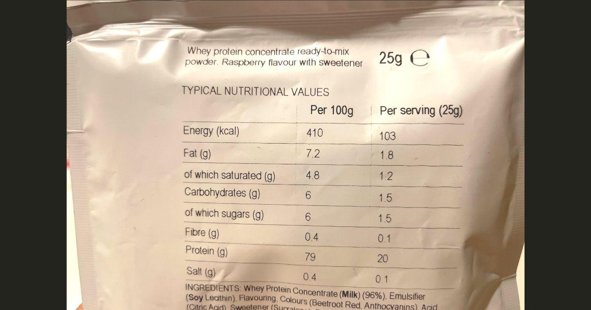 マイプロテインのラズベリー味の栄養成分の画像